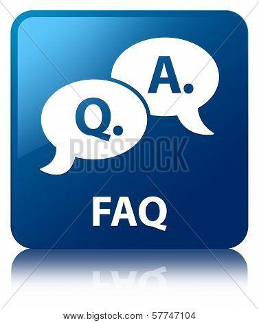 Faq (question answer Bubble Icon) Glossy Blue Reflected Square Button