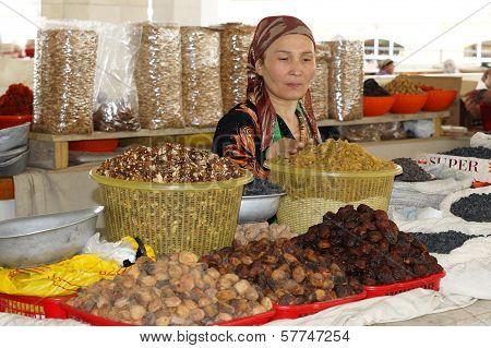 Woman trading on a market, Samarkand, Uzbekistan