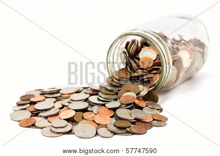 Spilled Jar Of Coins