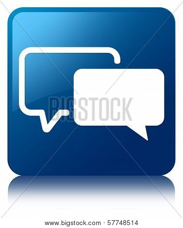 Testimonials Icon Glossy Blue Reflected Square Button