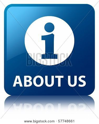 About Us Glossy Blue Reflected Square Button