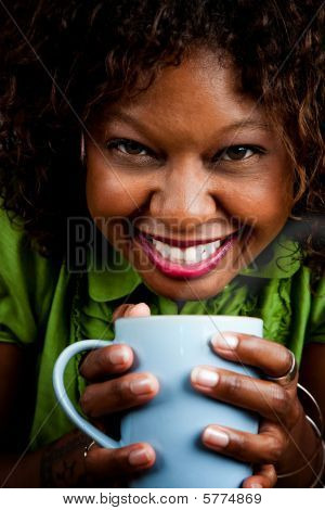 Pretty African American Woman With Coffee