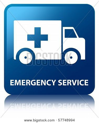 Emergency Service Glossy Blue Reflected Square Button