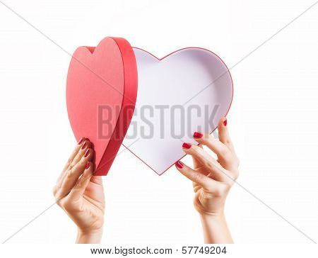 Heart shaped box with copy space