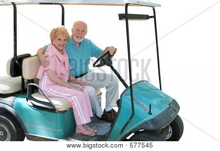Golf Cart Seniors Isolated