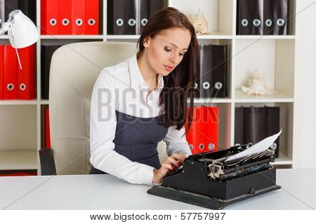 Young Woman With Typewriter.