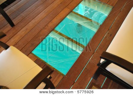 Bungalow Interior With A Floor Detail To Blue Ocean