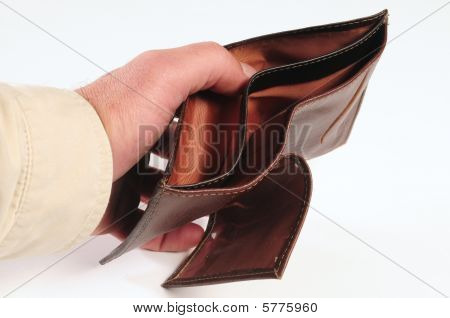 Hand holding an empty wallet
