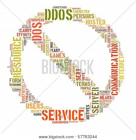 Ddos Concept With No More Sign Tag Cloud