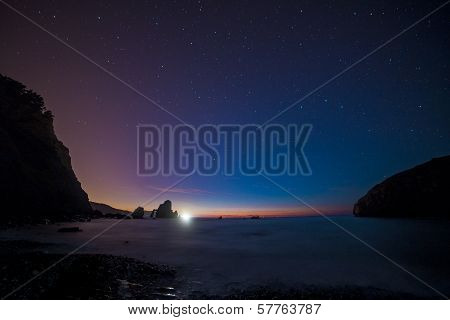 Night sky at Gaztelugatxe