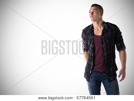 Handsome Young Man With T-shirt And Checkered Shirt