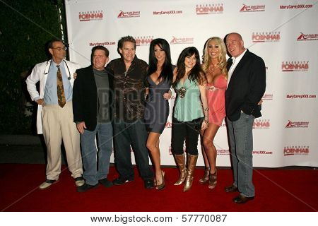 L-R Mike Horner, Kyle Stone, Jeff Conway, Jessica Jaymes, Vicki Lizzie, Mary Carey and Maestro Claudio at the 'Celebrity Pornhab with Dr. Screw' Premiere Party. Les Deux, Hollywood, CA. 06-01-09