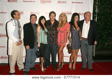 L-R Mike Horner, Kyle Stone, Vicki Lizzie, Jeff Conway, Mary Carey, Jessica Jaymes and Maestro Claudio  at the 'Celebrity Pornhab with Dr. Screw' Premiere Party. Les Deux, Hollywood, CA. 06-01-09