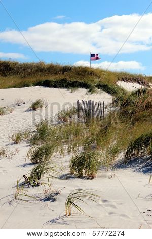 flag waving in dunes
