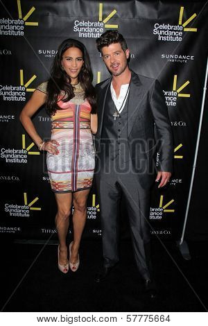 Paula Patton, Robin Thicke at the Sundance Institute Benefit Presented by Tiffany & Co., Soho House, Los Angeles, CA 06-06-12