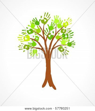 Green Tree With Leaves Made Of Handprint. Eco Concept For Your Design.