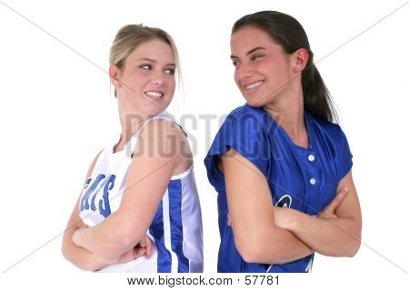 Friendly Competition Between Softball Teens