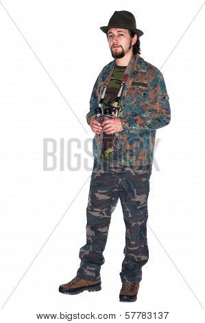 Hunter Holding Binocular In His Hands