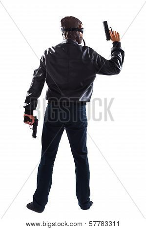 Endangering Man Holding Guns In His Hands