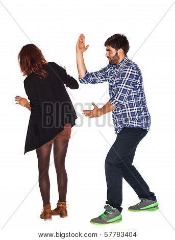 Angry Husband Hitting His Wife
