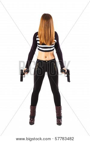 Enigmatic Female Spy With Guns