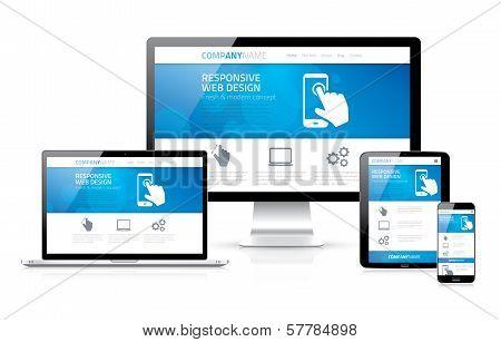 Scalable and flexible modern responsive web design concept vector EPS10