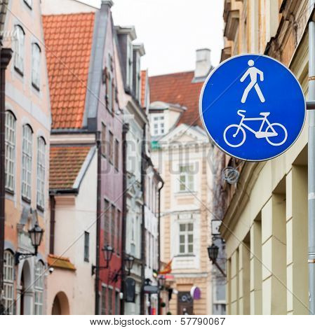 Blue Pedestrian Zone Road Sign In Old City Center. Riga, Latvia