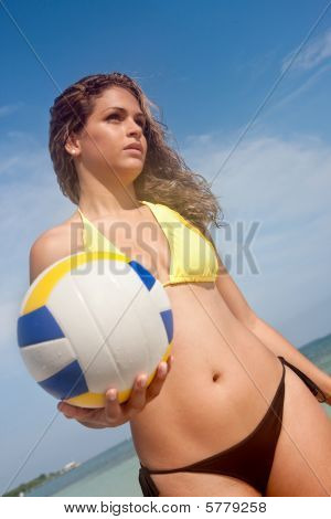 Beach Woman With Volleyball