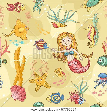 Yellow Seamless Pattern With Mermaid
