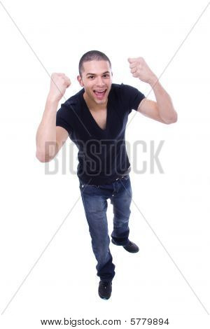 Young Excited Atletic Man, Isolated On White