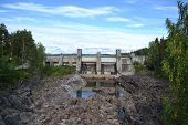 stock photo of hydroelectric power  - Imatra hydroelectric power station and Canyon River Vuoksa Finland - JPG