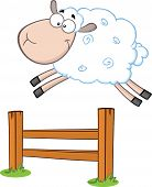 picture of counting sheep  - Funny White Sheep Jumping Over The Fence  Illustration Isolated on white - JPG