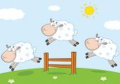 foto of counting sheep  - Three Funny Sheep Jumping Over A Fence Cartoon Character - JPG