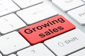 Business concept: Growing Sales on computer keyboard background