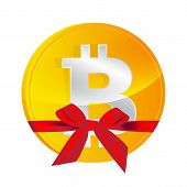 stock photo of bit coin  - Bitcoin coin with gift bow isolated on white - JPG