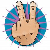 stock photo of obscene  - Vintage Pop Two Fingers Up Gesture - JPG