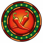 pic of chili peppers  - Mexican chili peppers logo with hot colors over white - JPG
