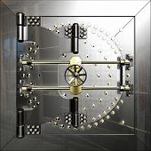 foto of vault  - Closed metal bank safe door of vault - JPG