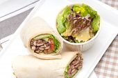 image of shawarma  - kafta shawarma chicken pita wrap roll sandwich traditional arab mid east food - JPG