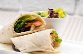 stock photo of sandwich wrap  - kafta shawarma chicken pita wrap roll sandwich traditional arab mid east food - JPG