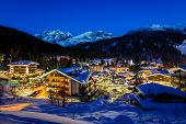 stock photo of italian alps  - Illuminated Ski Resort of Madonna di Campiglio in the Morning Italian Alps Italy - JPG