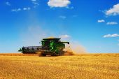 stock photo of combine  - Combine Harvester in corn field russian landscape - JPG