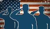 stock photo of memorial  - Three US Army soldiers saluting on grunge american flag background vector - JPG