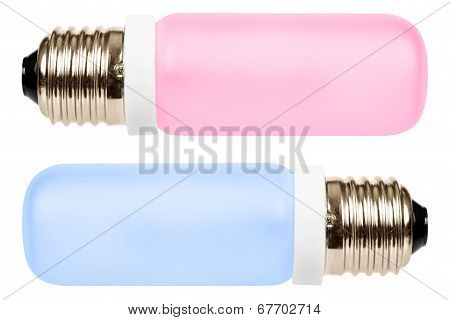 Pink and blue halogen lamps close-up