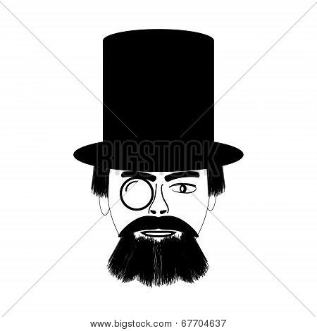 Retro Man Portrait In A Top Black Hat.