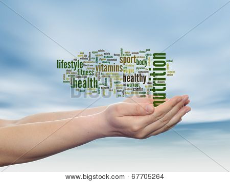 Concept or conceptual abstract nutrition and health word cloud man hand, blue sky background