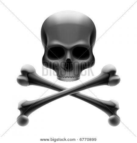 Skull with bones. Jolly Roger. Vector.