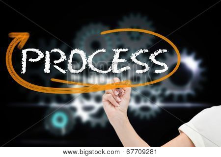 Businesswoman writing the word process against cogs and wheels graphic