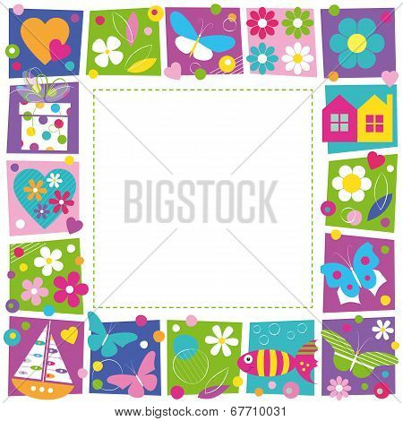 cute hearts flowers and butterflies border