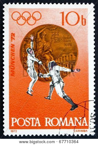 Postage Stamp Romania 1972 Fencing, Bronze Medal